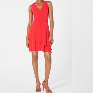 19 Cooper red dot flare wrap front dress